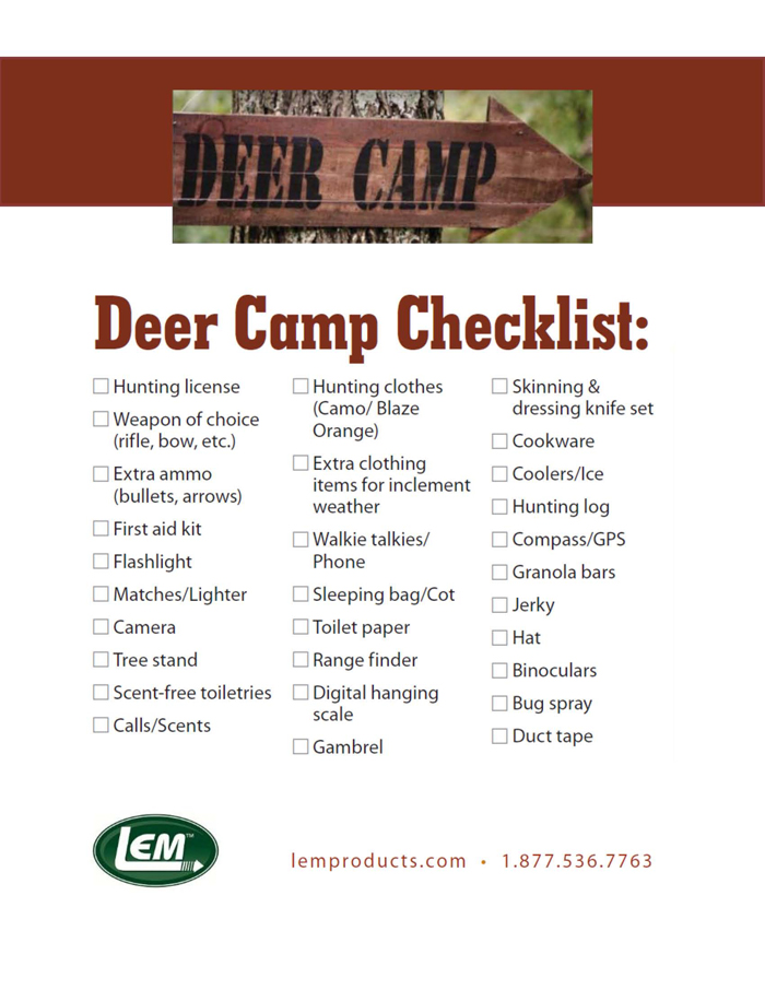 View Deer Camp Checklist Here