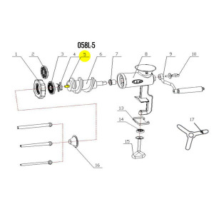 Schematic - Auger Stud for # 10 Tinned Hand Grinder # 058