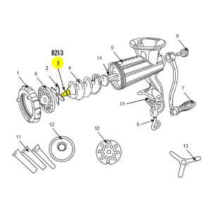 Schematic - Auger Stud for # 10 Stainless Steel Hand Grinder # 821