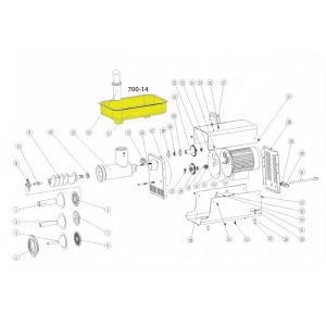 Schematic - Stainless Steel Meat Pan for # 12 Big Bite Grinder # 780