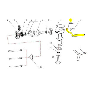 Schematic - Handle for # 10 Tinned Hand Grinder # 058