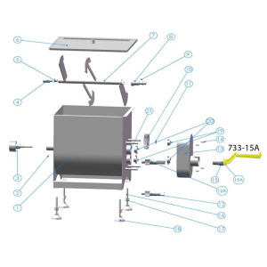 Schematic -  Handle for Splined Shaft for 25 lb. and 50 lb. Mixer # 733, # 733A, # 734 & # 734A