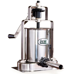 15 lb. Stainless Steel Vertical Sausage Stuffer With Stainless Steel Tubes