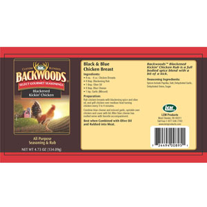 Backwoods Blackened Kickin' Chicken Rub Label
