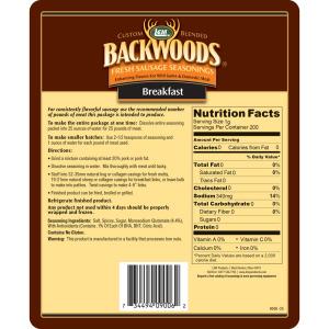 Backwoods Breakfast Fresh Sausage Seasoning - Makes 25 lbs. - Directions & Nutritional Info