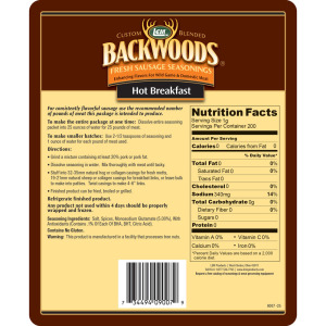 Backwoods Hot Breakfast Fresh Sausage Seasoning - Makes 25 lbs. - Directions & Nutritional Info