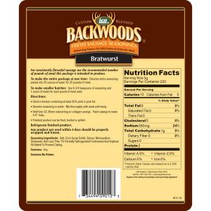 Backwoods Bratwurst Fresh Sausage Seasoning - Makes 5 lbs. - Directions & Nutritonal Info