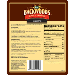 Backwoods Jalapeno Jerky Seasoning - Makes 25 lbs. - Directions & Nutritional Info