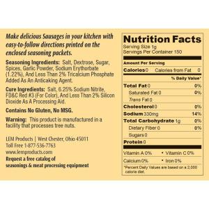 Backwoods Summer Sausage Kit - Makes 10 lbs. - Nutritional Info
