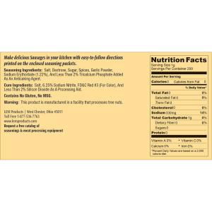 Backwoods Summer Sausage Kit - Makes 20 lbs. - Nutritional Info