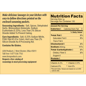 Backwoods Trail Bologna Kit - Makes 10 lbs. - Nutritional Info
