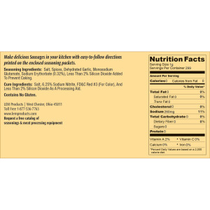 Backwoods Trail Bologna Kit - Makes 20 lbs. - Nutritional Info