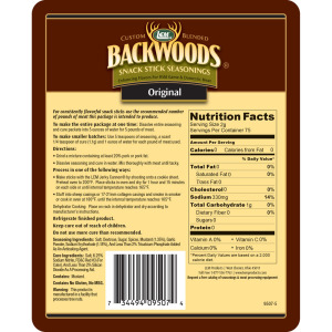 Backwoods Original Snack Stick Seasoning - Makes 5 lbs. - Directions & Nutritional Info