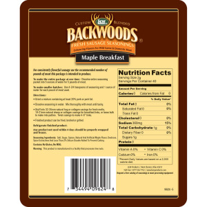 Backwoods Maple Breakfast Fresh Sausage Seasoning - Makes 25 lbs. - Directions & Nutritional Info