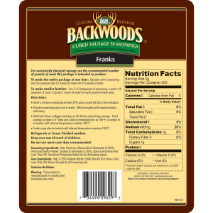 Backwoods Franks Cured Sausage Seasoning - Makes 25 lbs. - Directions & Nutritional Info