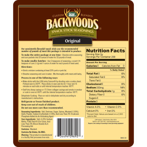 Backwoods Original Snack Stick Seasoning - Makes 25 lbs. - Directions & Nutritional Info
