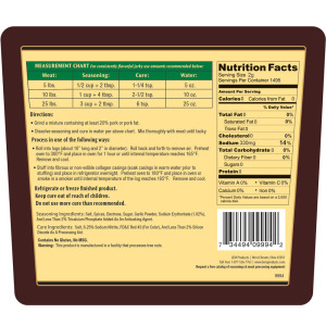 Backwoods Jalapeno Summer Cured Sausage Seasoning - Makes 100 lbs. - Directions & Nutritional Info