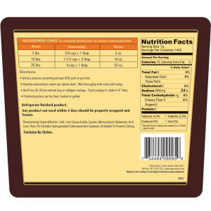 Backwoods Bratwurst Fresh Sausage Seasoning - Makes 100 lbs. - Directions & Nutritonal Info