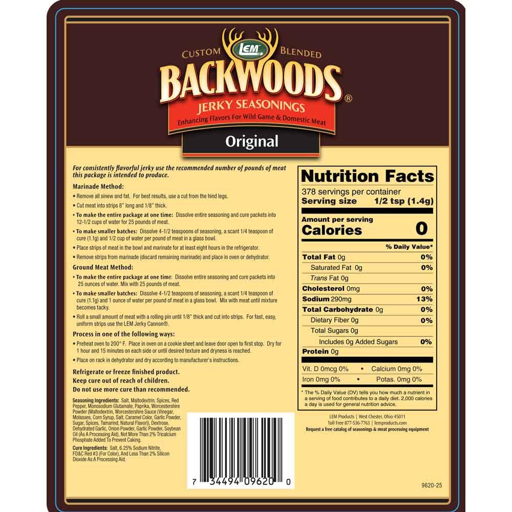 Backwoods Original Jerky 25lb Back