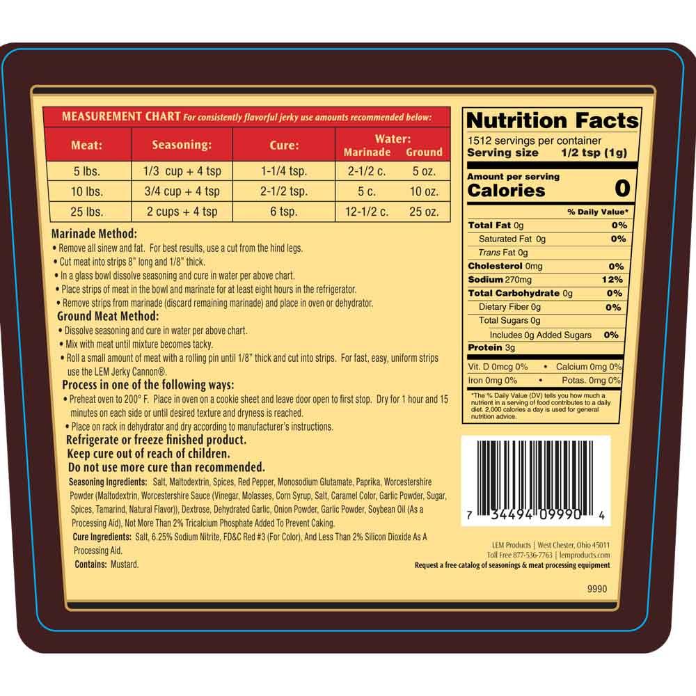 Backwoods Original Jerky Seasoning Directions & Nutritional Info - Makes 5 lbs.